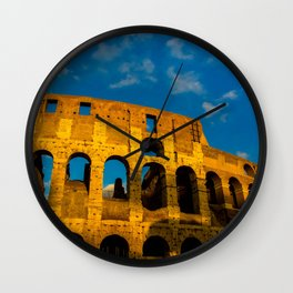 Sunset Over The Roman Colosseum Wall Clock