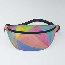 Modern Pink Green Yellow Hand Painted Triangles Fanny Pack