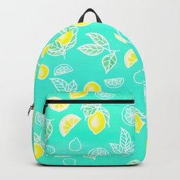 Modern summer bright yellow green lemon fruits watercolor illustration pattern on mint green Backpack