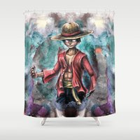 luffy Shower Curtains featuring The King of Pirates a Tra-Digital Portrait by Barrett Biggers