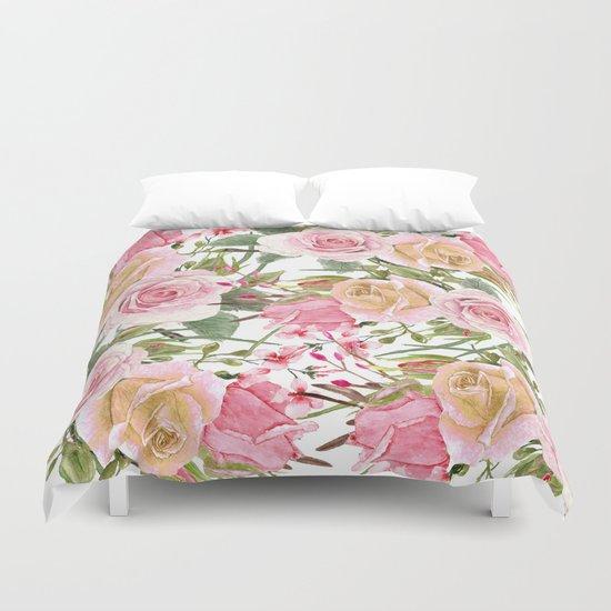 Watercolor Roses #1 Duvet Cover