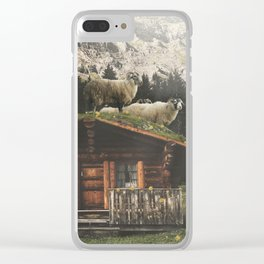 Sheep on the roof Clear iPhone Case