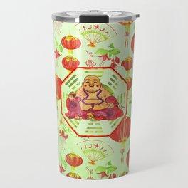 Watercolor Laughing Happy Buddha on Bagua Travel Mug