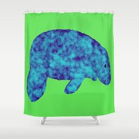 manatee Shower Curtains featuring blue manatee by Crayle Vanest
