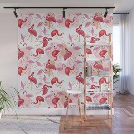 Watercolor Flamingos Wall Mural