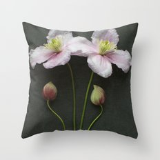Clematis Flowers and Buds Throw Pillow