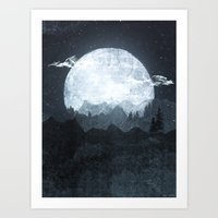 moonrise Art Prints featuring Moonrise by Tracie Andrews