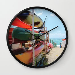 Kayaks in the Cinque Terre Wall Clock