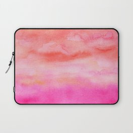 Bright pink orange sunset watercolor hand painted Laptop Sleeve