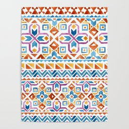 Geometric colorful Watercolor Pattern Poster
