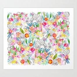 Tropical Botanical Sketchbook  Art Print