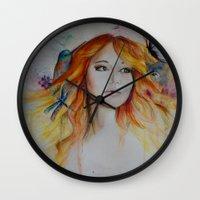 jennifer lawrence Wall Clocks featuring Jennifer Lawrence Watercolor  by Halinka H