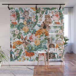 Cat and Floral Pattern III Wall Mural