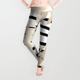 Simply Tropical White Gold Sands Palm Leaves on Stripes Leggings