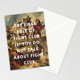 The Battle of the Amazons (1615), Peter Paul Rubens // Fight Clu b (1999), David Finche r Stationery Cards