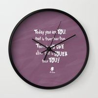 dr seuss Wall Clocks featuring dr seuss youer than you by studiomarshallarts