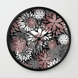 Pretty rose gold floral illustration pattern Wall Clock