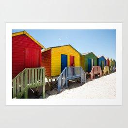 Colorful beach huts Art Print