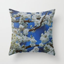 Sakura, cherry white blossom with blue background in Paris - Fine Arts Travel Photography Throw Pillow