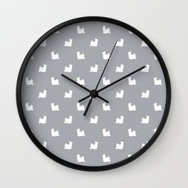 Biewer Terrier silhouette minimal dog breed art pattern dog lover terriers grey Wall Clock