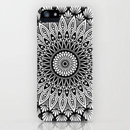 Sacred Lotus Black and White Mandala - LaurensColour iPhone Case