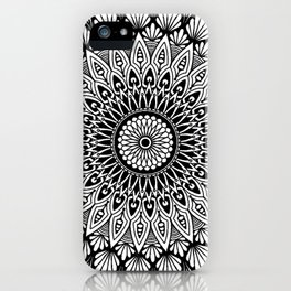 Sacred Lotus Black and White Mandala - LaurensColour iPhone Case