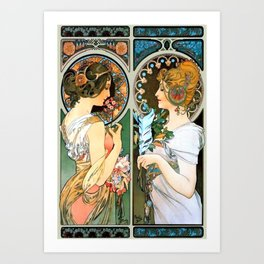 "Alphonse Mucha ""Primrose and Feather"" Art Print"