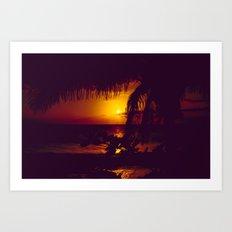 Kamaole Tropical Nights Sunset Gold Purple Palm Art Print