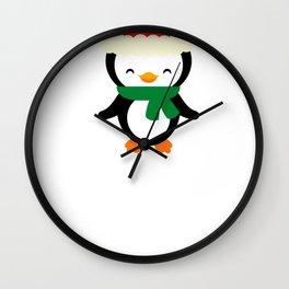 Christmas Penguin Wearing Santa Hat Wall Clock