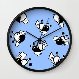 Hearts with Stitches - Black with Blue Wall Clock