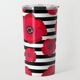 Red Poppies & Stripes Travel Mug