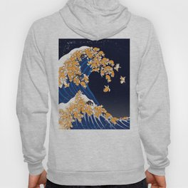 Shiba Inu The Great Wave in Night Hoodie