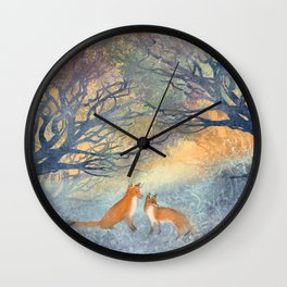 The Two Foxes Wall Clock