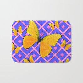 Decorative  Yellow Butterflies on Lilac & Pink Bath Mat
