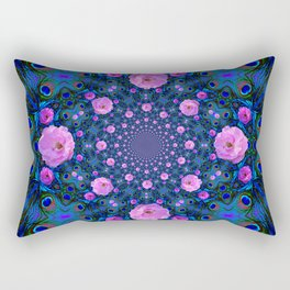 DECORATIVE HUNDRED  PINK ROSES & BLUE  ABSTRACT Rectangular Pillow
