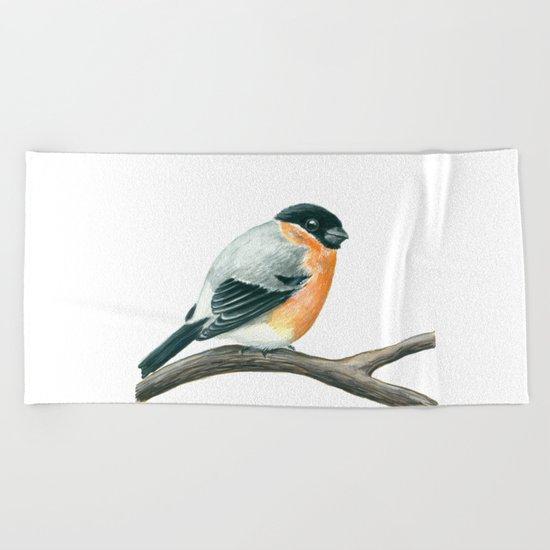 Bullfinch bird Beach Towel