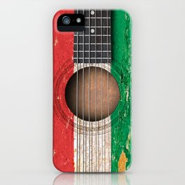 Old Vintage Acoustic Guitar with Hungarian Flag iPhone Case