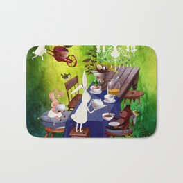Bunny Tea Party in forest Bath Mat