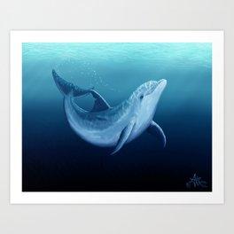 """Riversoul Blue"" by Amber Marine ~ Dolphin Art, (Copyright 2014) Art Print"