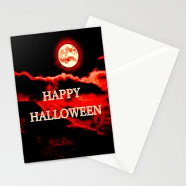 Happy Halloween Red Moon Stationery Cards