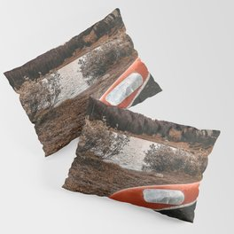 Rustic Autumn Canoe // Dusk Lit Gray Sky Pond Reflection in the Colorado Woodlands Pillow Sham