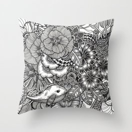 Adventure of Tiny Land Whales Throw Pillow