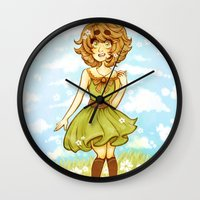 dangan ronpa Wall Clocks featuring spring princess by bitterkiwi