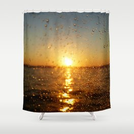 Sunset Glass Water Drops Color Photo Shower Curtain
