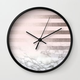 Rose Gold Pink Stripes and Marble Design Wall Clock
