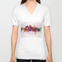 minneapolis V-neck T-shirts featuring Minneapolis skyline in watercolor background by Paulrommer