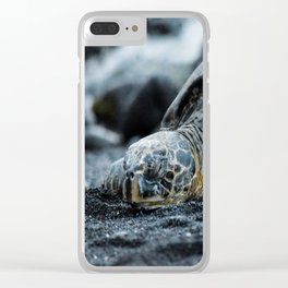 Turtle on a Black Sand Beach in Hawaii Clear iPhone Case
