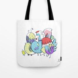 Techno-Color Birds Tote Bag