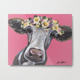 Cute Cow Art, Colorful Flower Crown Art. Metal Print