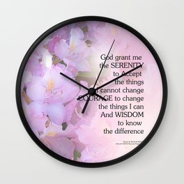 Serenity Prayer Rhododendron Glow Wall Clock